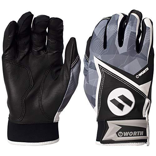 Worth Slowpitch Softball Adult Batting Glove, Black, Large