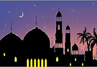 Laeacco 7x5ft Cartoon Mosque City Night Polyester Photography Background Building Tower Moon Light Star Purple Sky Photo Studio Personal Portraits Shoot Ramadan Festival Decoration Wallpaper