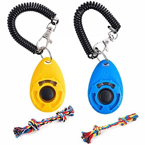 Clicker Perro Adiestramiento de 2 Piezas con Correa para la Muñeca, Cuerda de Algodón Colorida de 2 Piezas, Ligera y Fácil de Usar para Entrenar Cachorros (Azul Amarillo)