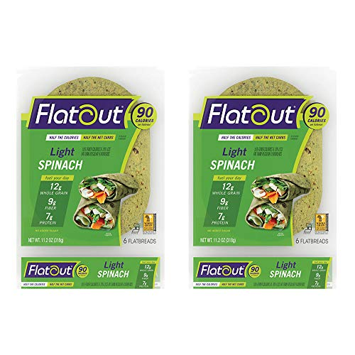 Flatout Wraps, Light Spinach (2 Packs of 6 Flatbreads)
