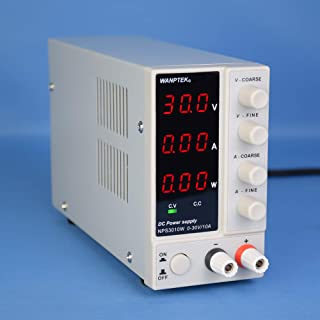 KKmoon DC Power Supply, NPS3010W 0-30V 0-10A Switching DC Power Supply 3 Digits Display LED High Precision Adjustable Mini Power Supply AC 115V/230V 50/60Hz Voltage & Current Regulated Dual Output