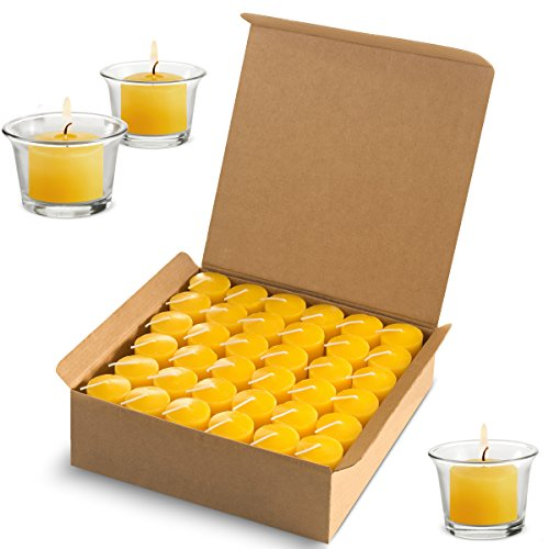 Votive Citronella Candles Scented Indoor Outdoor Use - Mosquito Dislike Scent - Authentic Citronella Oil - 10 Hour Burn Time - Summer Yellow, Set of 72 (Glass Holders Not Included)