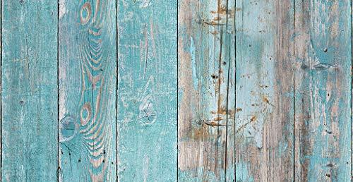 Vilber Wood.2946 DU 03 40X78 Alfombra, Vinilo, Azul, 40 x 78 x 0.22 cm