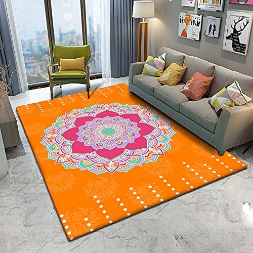 Alfombra De Poliéster, Supersuave, Antideslizante Alfombra , Orange Pattern Carpet para Comedor, Dormitorio, Sala De Estar, Balcón, Baño, Etc.,100X160Cm(39X63Inch)