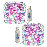 [2 pezzi] Fata leggera stringa, luce a corda a LED 10m /100 led 8 modalità Spina USB in luci a corda in rame alimentate impermeabili per esterni/interni, feste, matrimoni, Natale (RGB)