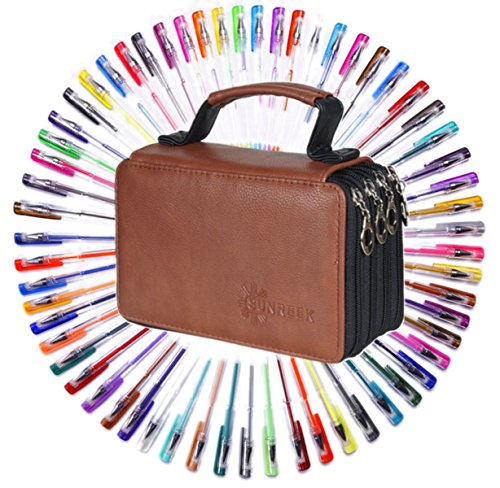 Gel Pens for Adult Coloring Books-60 Colors Gel Pens Set with PU Leather Travel Case for Sketching, Drawing & Custom Artistic Creations Adult Coloring Books
