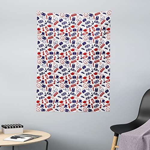 ABAKUHAUS London Wandteppich & Tagesdecke, Vereinigtes Königreich Land, aus Weiches Mikrofaser Stoff Modernster Digitaldruck Technologie, 110 x 150 cm, Königsblau Weiß Rot