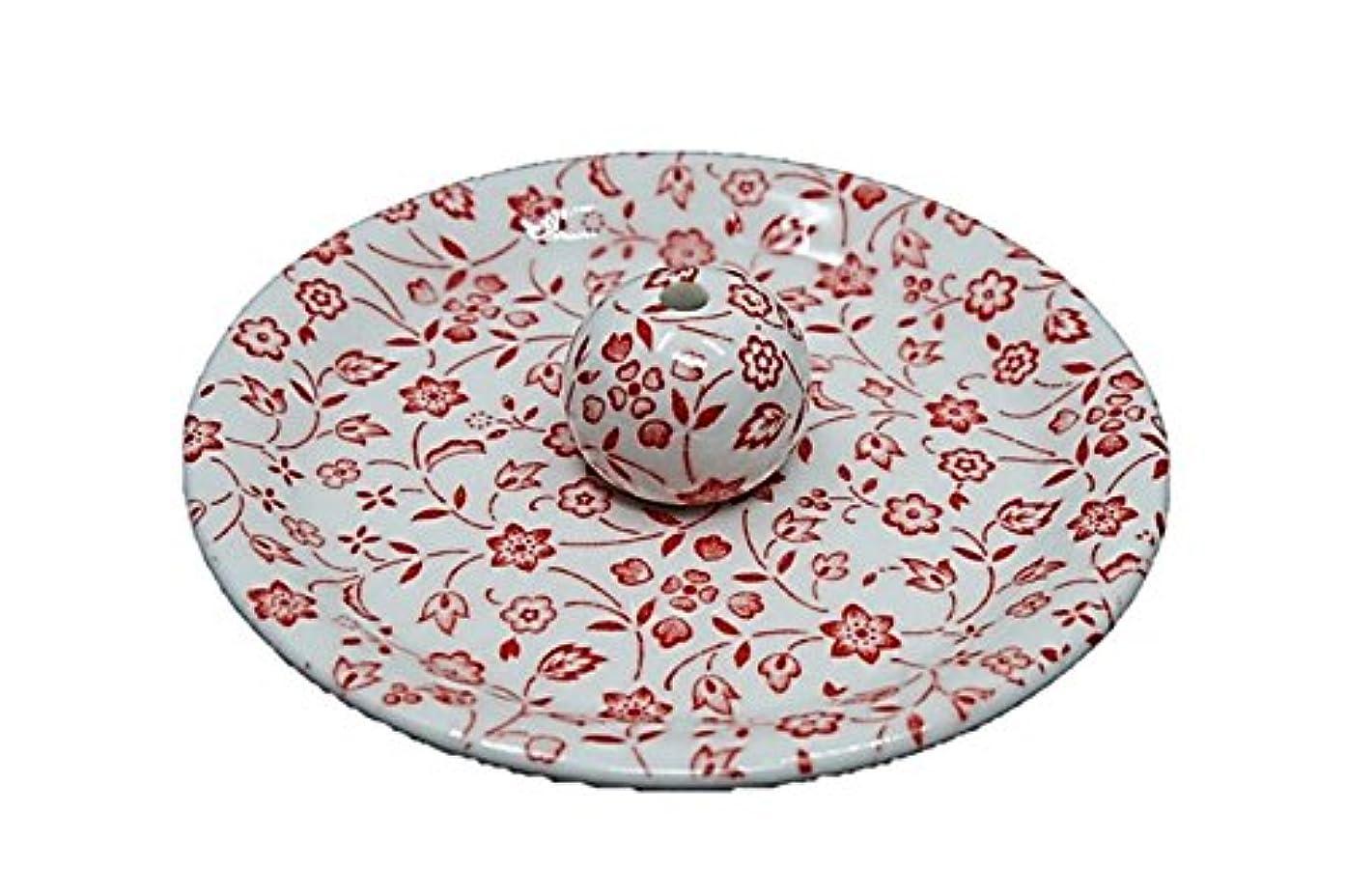 マイルディプロマ再生的9-20 赤小花 9cm香皿 お香立て お香たて 陶器 日本製 製造?直売品