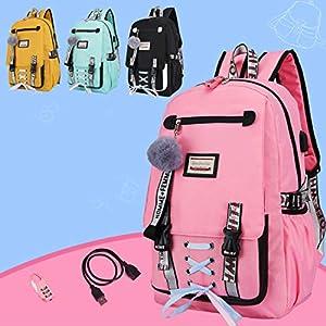 51bmQk+KViL. SS300  - YONKINY Mochila Portátil Escolares Juveniles Chica Chico Antirrobo USB Mochila de Seguridad 15.6 Pulgadas Ordenador…