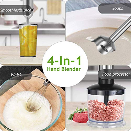 4-in-1 Stainless Steel 1100W Immersion Hand Stick Blender Mixer Vegetable Meat Grinder 500ml Chopper Whisk 800ml…