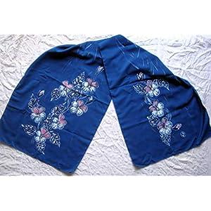 Silk Flower Arrangements Violets on silk scarf/Silk scarf Women/Gift for Her/Batik Fashion/Handpainted silk scarf/Flowers silk Painting/Large silk Shawl dark blue/Wedding Gift/Blue Pansies/Batik Silk Art.