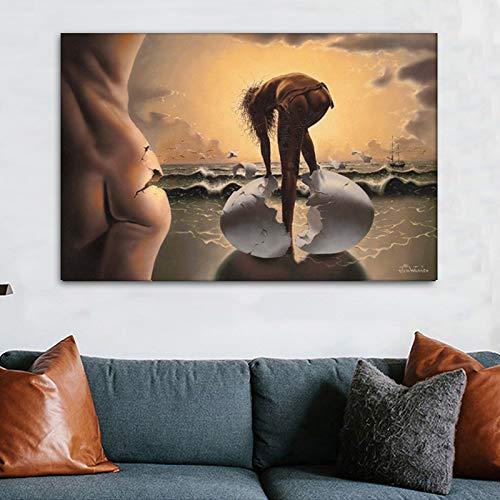 Meisjes geboorte van eieren canvas gedrukt muurkunst schilderij voor de woonkamer modulaire afbeeldingen decoratie 27.5x41.3inch
