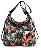 Nawoshow Waterproof Nylon Crossbody Bag Shoulder Handbag with Antitheft RFID,Convertible Backpack(Flower)