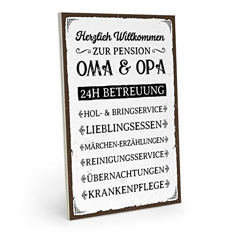 ARTFAVES Holzschild mit Spruch - Pension OMA & Opa - Vintage Shabby Deko-Wandbild/Türschild