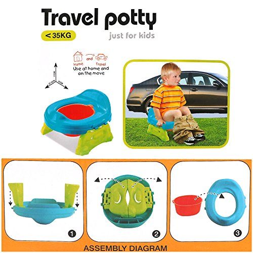 WISHTIME Baby Toilet Training Travel Potty 2 in 1 Comfortable Seat Portable Foldable Toilet Baby Training Potty Chair Assistant Multifunction Eco friendly Stool