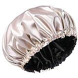 Gorro para Dormir de Satén para Mujer Gorro de Pelo Con Banda Elástica Suave Turbantes de Cabello de Noche
