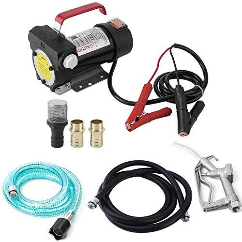 Kraftstoffförderpumpe 12V / 24V mit Kraftstoffpumpedüse und Saugschlauch, für Dieselkraftstoff/Biodiesel/Kerosin- / Light-Heizöle,12v