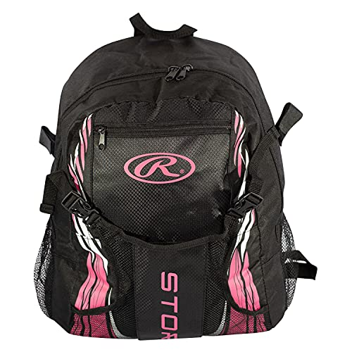RAWLINGS Storm Girls Youth Softball Bat Bag, Backpack for T-Ball & Softball Equipment & Helmet for Youth and Adults, Portable Lightweight, Easy Access - Black/Pink