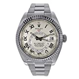 Rolex Sky Dweller Ivory Roman Dial GMT 18k White Gold Mens Watch 326939IVRO