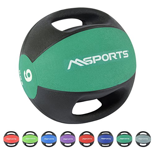MSPORTS Medizinball Premium mit Griffe 1 – 10 kg – Professionelle Studio-Qualität Gymnastikbälle (9 kg - Smaragdgrün)