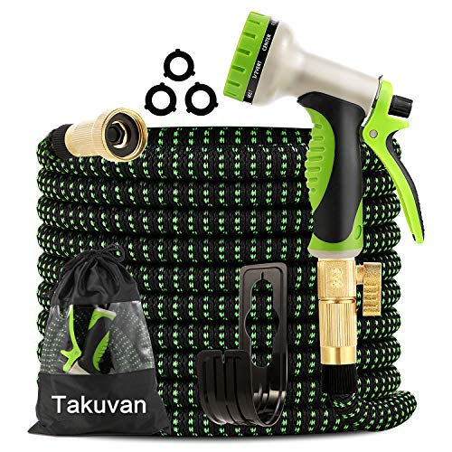 """Takuvan Expandable Garden Hose 50ft - Water Hose with 9-Way Spray Nozzle - Durable 4-Layers Latex with 3/4"""" Solid Brass Fitting - Strength 3750D Flexible Lightweight No Kink Yard Hose Pipe Set"""