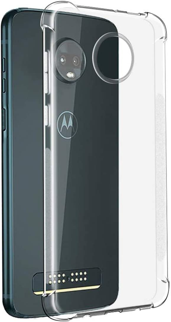 Sidande Moto Z4 Case, Moto Z4 Play Case, Shockproof Clear Soft Flexible TPU Slim Protective Phone Case Cover for Motorola Moto Z4 (Clear)