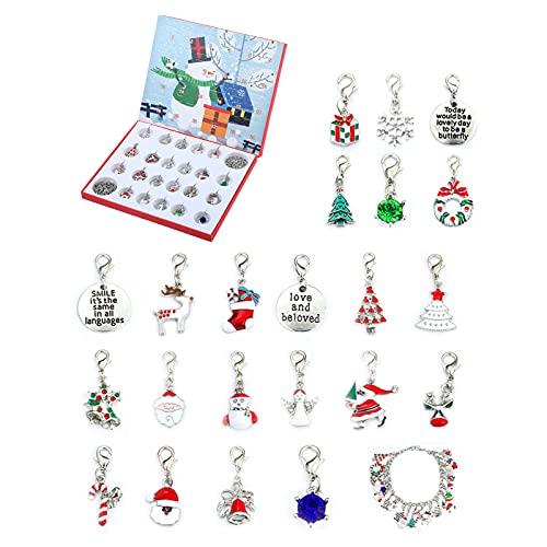 Calendario dell'avvento con gioielli, con 22 ciondoli, calendario dell'Avvento per Natale, compleanno, matrimonio e trasloco