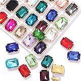 10x14mm 13x18mm formas rectangulares diamantes de imitación de cristal con garra dorada coser en piedras preciosas para prendas de vestir accesorios