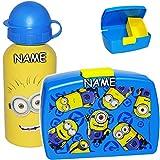 alles-meine.de GmbH Set: Lunchbox / Brotdose + Trinkflasche -  Minions - ich einfach unverbesserlich  - inkl. Name - BPA frei - mit extra Einsatz / herausnehmbaren Fach - Sport..