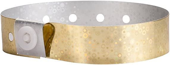WristCo Holographic Gold Plastic Wristbands - 100 Pack Wristbands for Events