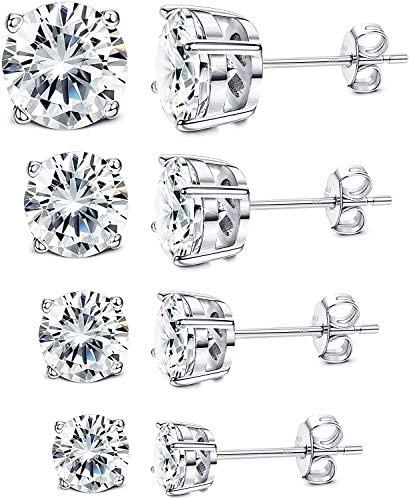 Milacolato 4Pairs Sterling Silver Stud Earrings 18K White Gold Plated Round Cubic Zirconia Classic product image