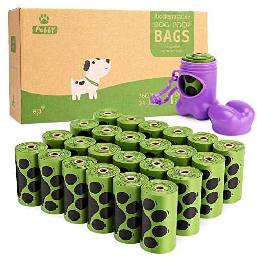 """PobbY Biodegradable Poop Bags for Dogs, Dog Poop Bags Biodegradable Unscented 24 Refill Rolls, 9"""" X 13"""" Durable Thick Dog Poop Bag (360-count) Includes Dispenser"""