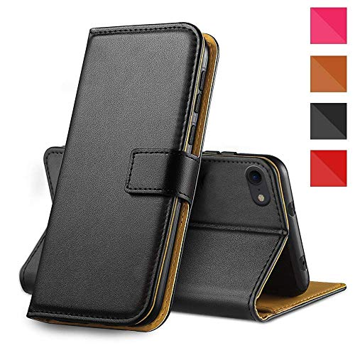 Genuine Real Leather Case For iPhone 7/8 Premium Wallet Case with [Kickstand] [Card Slots] [Magnetic Closure] Flip Notebook Cover Case for (iPhone 7/8 4.7' Black)