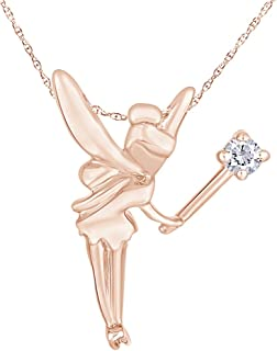 White Diamond Tinker Bell Angle Pendant Necklace in 14K Gold Over Sterling Silver