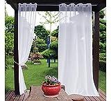 2 paneles de cortina de gasa transparente para exteriores, cortinas de patio, tratamiento de ventana, para jardín, porche, terraza, pérgola, 132 x 243 cm
