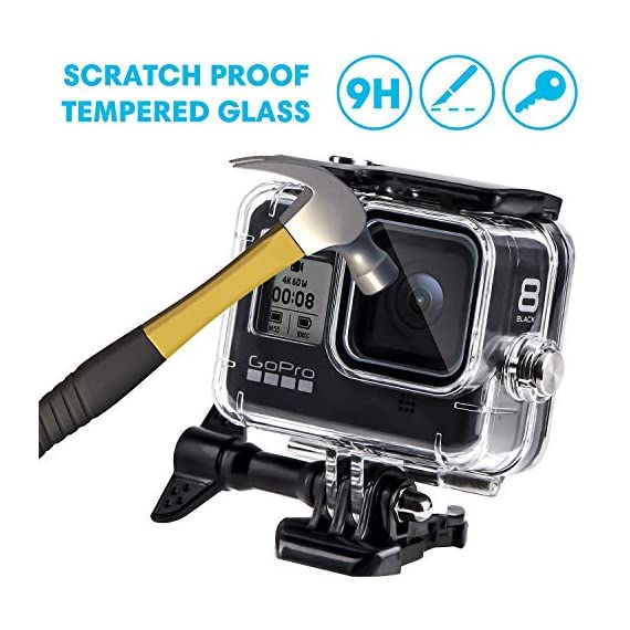 Waterproof Housing Case for GoPro Hero 8, 60M Diving Protective Housing Shell for Gopro Hero 8 Black Action Camera… 7 196FT/60M Gopro 8 Diving Case: Designed with waterproof seal and tightened buckle, REDTRON waterproof housing shell helps to prevent to water leakage effectively. You can use your Gopro Hero 8 to record underwater activities up to 196FT/60M without worrying about the leakage. HD Scratch-proof & Clear Shooting Underwater: The lens of Gopro 8 underwater photography housing is made of ultra-thick transparent tempered glass with with high light transmission which protect your Gopro 8 lens from being scratched and provides you a good shooting results. Upgraded Quick Release Buckle Mount: REDTRON protective housing case for Gopro 8 comes with a quick release buckle mount with 2 type screws. You can attach your Grpro 8 black to accessories such as tripod, bicycle mount, suction cup mount. (Note: accessories are NOT included)