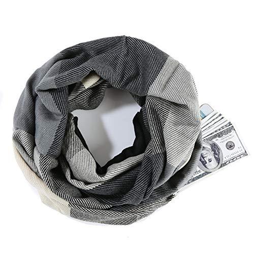 レディースインフィニティポケットスカーフレディースメンズガール向けジッパーポケットループスカーフ付き軽量トラベルスカーフ,F