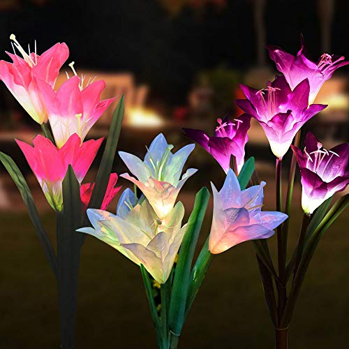 Solar Lights Outdoor  (3 Pack)Outdoor Solar Garden Stake Lights with 12 Lily FlowerMultiColor Changing Solar Flower Lights for Garden/Patio/Yard Decoration