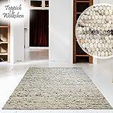 Hand-Web-Teppich | Reine Schur-Wolle im Skandinavischen Design | Wohnzimmer Esszimmer Schlafzimmer Flur Läufer | Grau Beige (Kiesel - 70 x 130 cm)