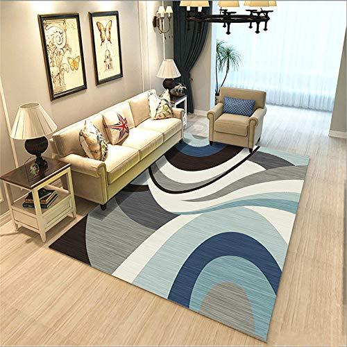 alfombras salon grandes baratas Alfombra azul claro con diseño de arco geométrico,...