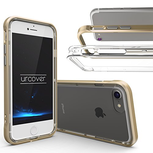 Urcover® Polycarbonat Bumper TPU Back-Hülle kompatibel mit Apple iPhone 7/8 | Handy Schutz-Hülle in Champagner Gold | Alu Cover | Smartphone Zubehör Randschutz Tasche