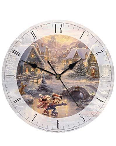 Thomas Kinkade Disney Mickey and Minnie Sweetheart Holiday 8' Glass Clock