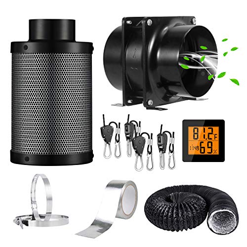 """HG Power 4"""" Grow Tent Ventilation Kit with Axial Inline Fan+Carbon Filter Ducting Clamps Combo+Rope Hanger+Aluminum Sealing Tape+Temperature Humidity Monitor Air Filtration Kits for Growing System"""