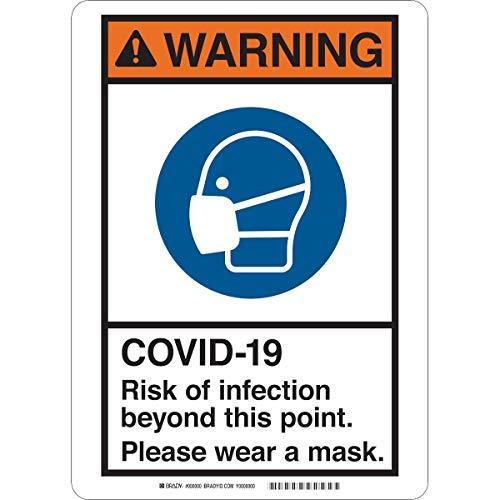 Sign 10X14, Risk Mask, High Impact Styrene Bk/Bl On Wh