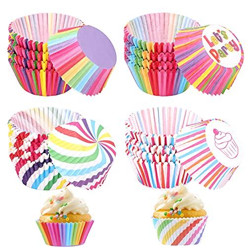 400 pezzi Pirottini per cupcake, Pirottini per muffin arcobaleno Set involucri di carta per cupcake Pirottini Colorati Carta da Forno Pirottini per torte per matrimoni per feste di compleanno(4 stili)