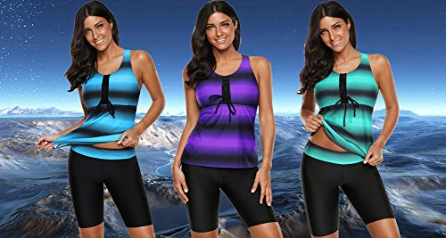 Aleumdr Womens Summer Fashion Ombre Striped Printed Swim Tops 2pcs Tankini Sets with Solid Swim Bottom Bathing Suits Light, 16-18, Purple 2