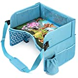 Car seat travel tray - Car seat tray for kids travel - Play lap for on airplane,car, stroller - Toddler travel tray with eye-catching Animals pattern. Carseat desk with Ipad/cup Holder