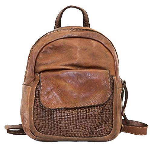 BZNA Bag Sam cognac Backpacker Designer Rucksack Damenhandtasche Schultertasche Leder Nappa Italy Neu