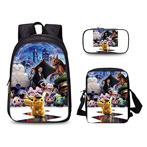 GNZY Bequem Schulrucksack Pokémon Detective Pikachu Rucksack Mode Rucksack mit Lunchbox und Federmäppchen für Jungen Mädchen Teenager Kinder,D