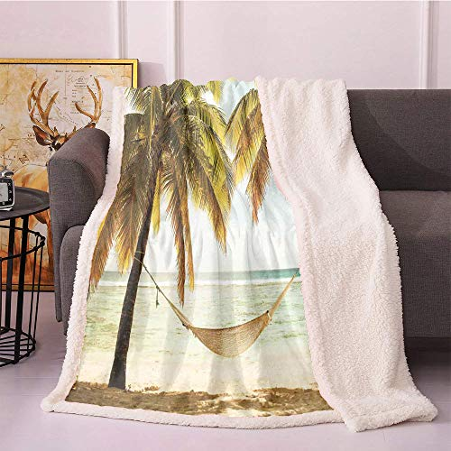 Beach Fleece Throw Blanket 40'X50',Seascape with Hammock and Palm Trees on Shore Tropical Beach Setting Sun Blanket Small Quilt,Fleece Fabric Fur Blanket(Pale Brown Tan Green)